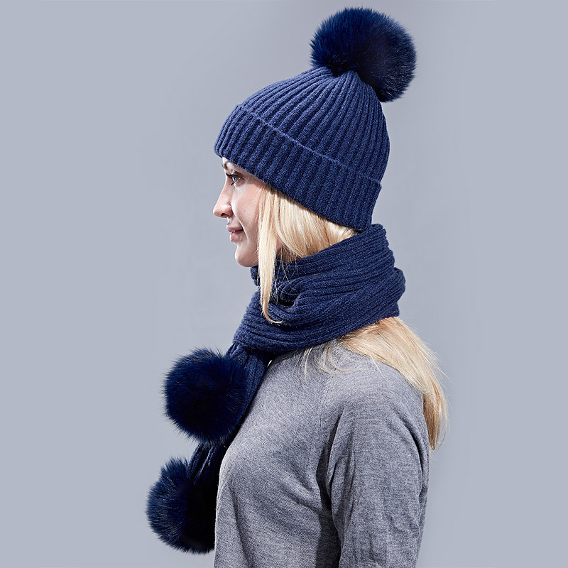 619a1fb8218 ... Real Fox Fur Winter Hat Raccoon Pom Pom Hat Scarf For Women Brand Thick  Women Hat ...