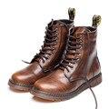 2017 Sapatos Outono Homens Moda Genuínos Ankle Boots de Couro Grande tamanho 38-47 Homens Botas Flat Primavera Novo Macho Chegada Flats sapatos
