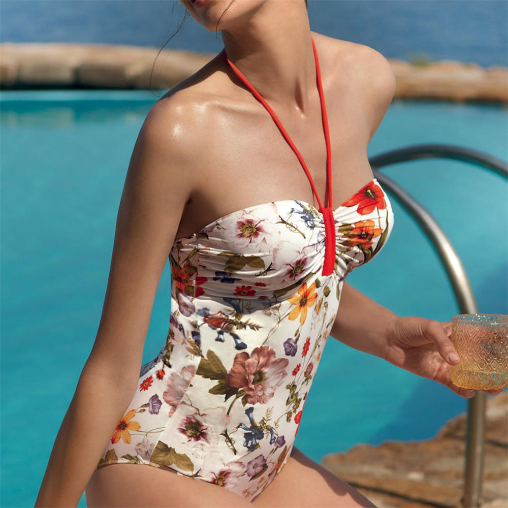 QIANG YI <font><b>2018</b></font> Summer Styles Push Up <font><b>Sexy</b></font> One Piece Swimsuit Women Swimwear Halter Bathing Suit Flowers Print <font><b>Jumpsuit</b></font> Bikinis image