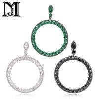 JiaMu Zara's big name fashion 3 color natural zircon big circle earrings New York fashion dress women gift party wedding jewelry