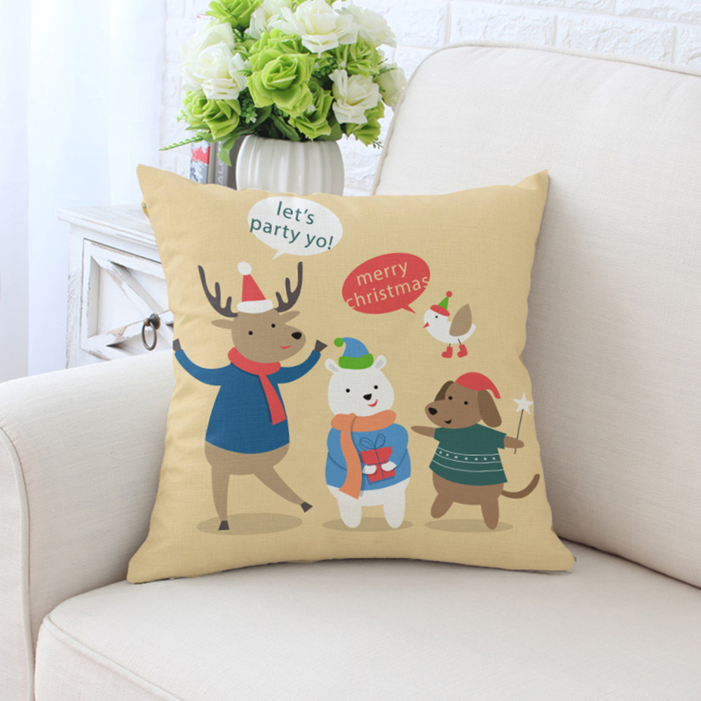 BZ142  Cartoon Christmas Series Pillowcase Pillow Cover Machine Washable Home Textile 45cm*45cm/18x18 Inch