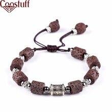 Коричневый вулканического камня Бусины мужской браслет красивый Браслеты для Для женщин природа камень браслет strand Для женщин Браслеты ювелирные изделия
