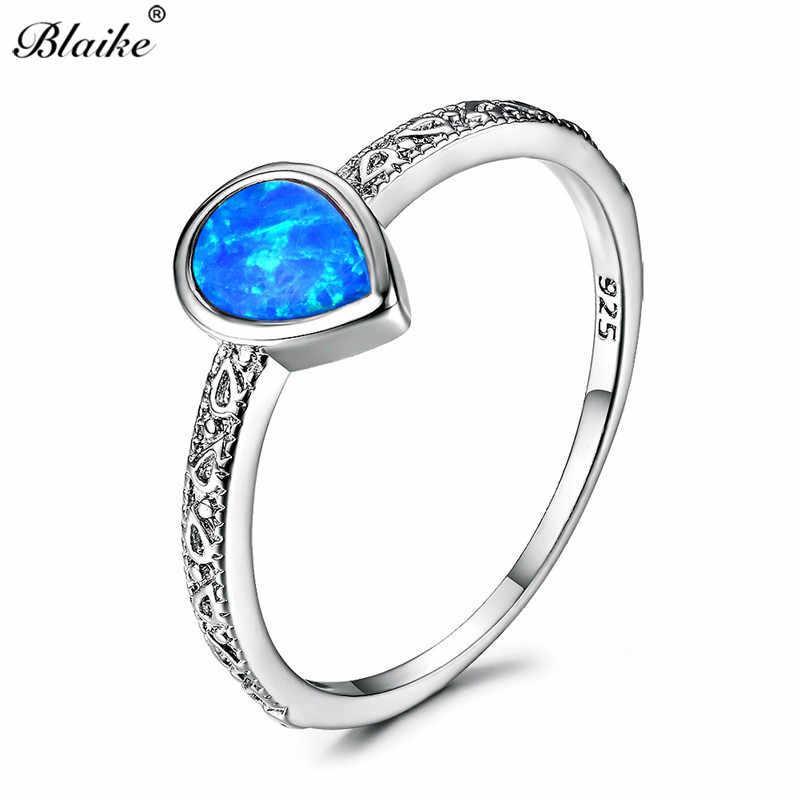 Blaike Luxury 925 เงินสเตอร์ลิงเครื่องประดับหยดน้ำสีขาว/สีฟ้า/สีม่วงโอปอลแหวนแฟชั่นเครื่องประดับแหวนพลอย