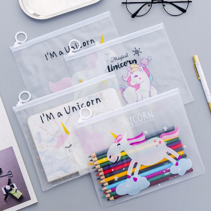 Japnese Pencil CaseCreative Unicorn Ring Flat Pull Bag Translucent Pencil Bag Office Stationery And School Supplies 1PCS