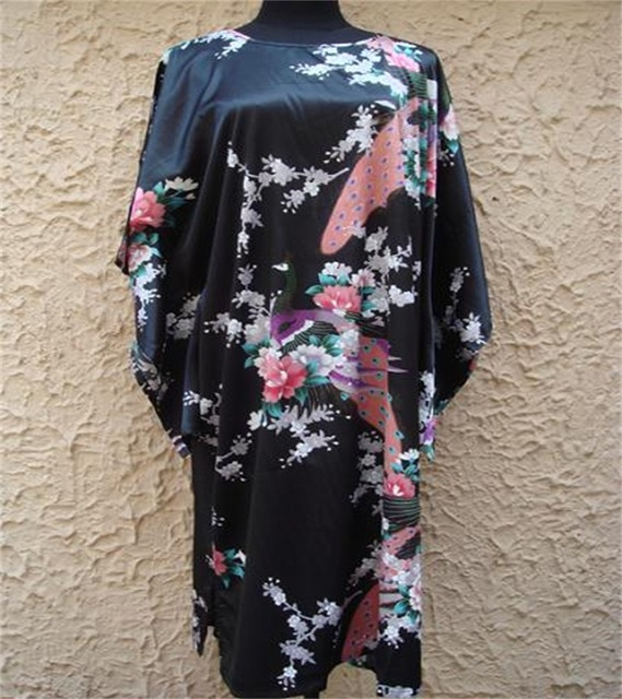 Frete Grátis Roupão Preto das Mulheres Chinesas Seda Rayon Robe Kimono Vestido peafowl Tamanho Treze Cores Atacado