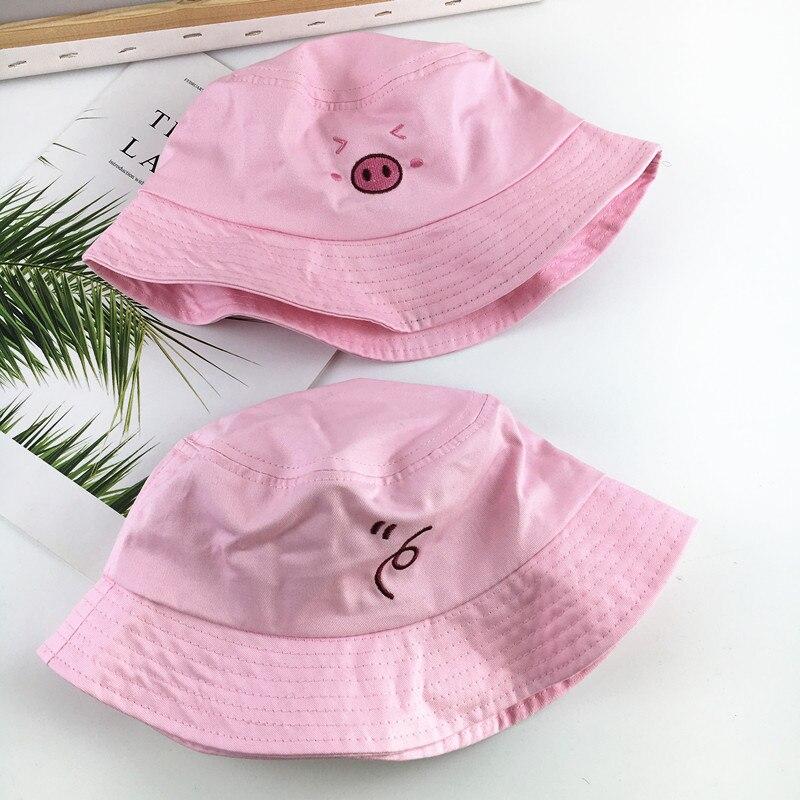 Cartoon Pig Pattern Bucket Hat Fisherman Hat Outdoor Travel Hat Sun Cap Hats For Women 191