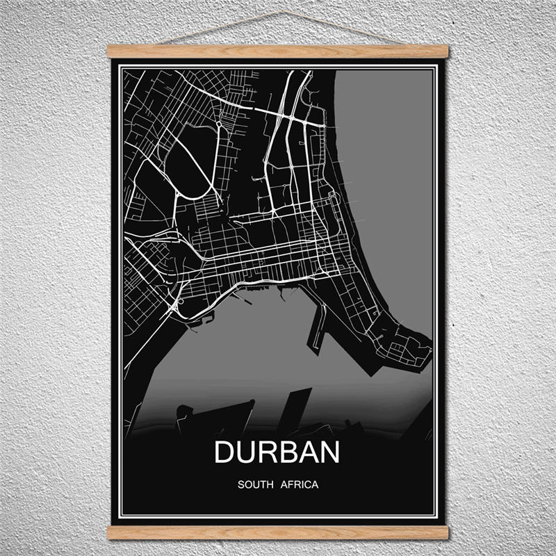 <font><b>DURBAN</b></font> Modern World City map Abstract print picture poster Canvas Wall Sticker Oil Painting Customized Pattern With Frame image