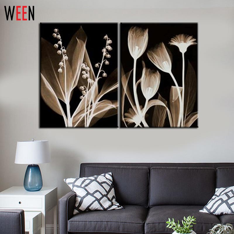 2 piece black and white canvas printings transparent for Living room 12x18