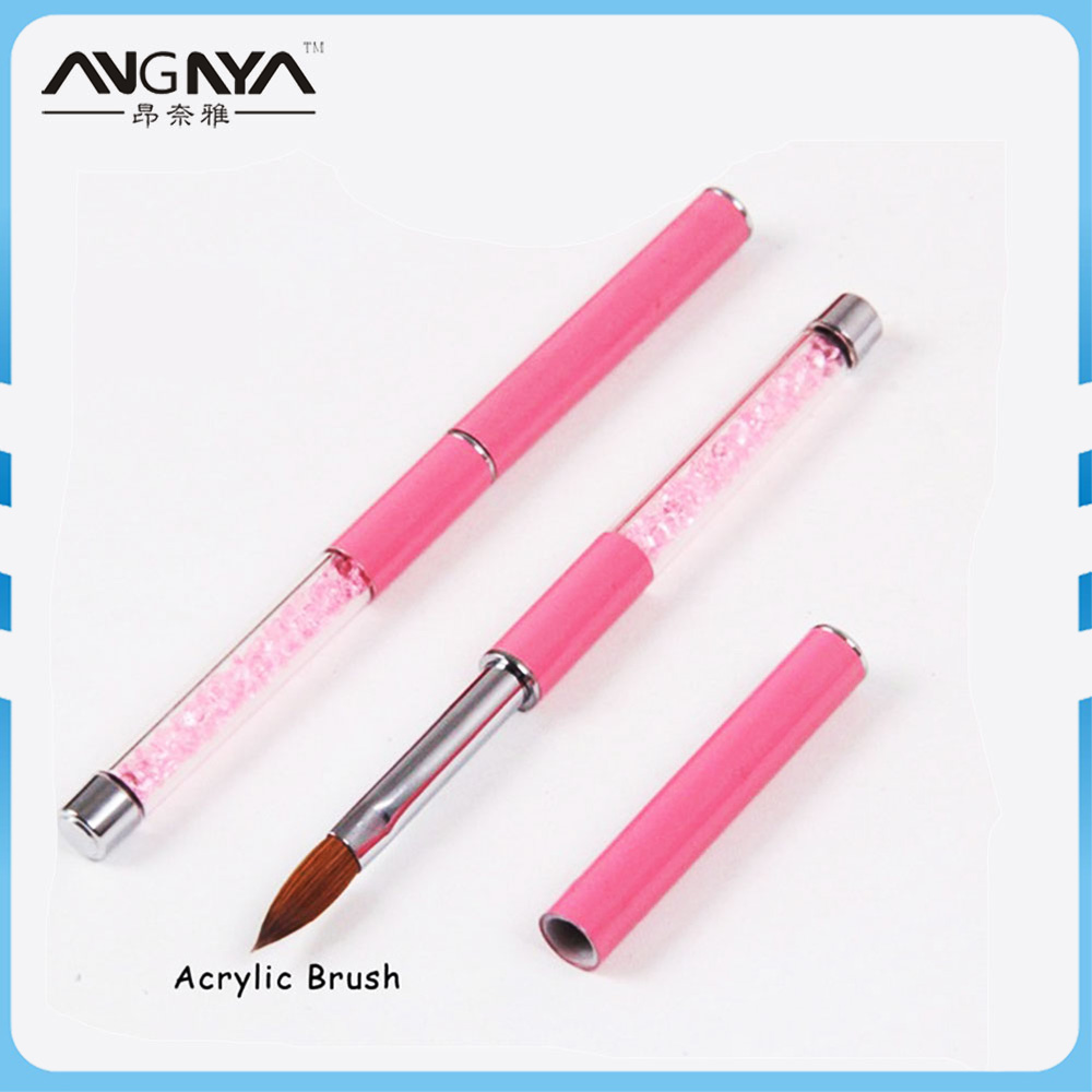 ANGNYA 1PCS Kolinsky Sable Acrylic Nail Art Brush 2#4#6#8#10# Pink Rhinestone Decorated Metal Hand Nail Brush DIY Nail Drawing