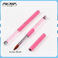 ANGNYA 1PCS/Lot 2# 4# 6# 8# 10# Pink Color Rhinestone Nail Brush Decorated Acrylic Handle Nail Kolinsky Acrylic Brush A090