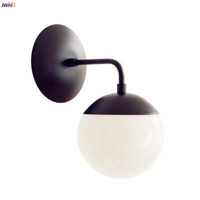 IWHD Nórdico Moderno LEVOU Luzes Luminárias de Parede Do Banheiro Sala de estar espelho de Luz Bola de Vidro da Lâmpada de Parede Ao Lado de Arandela Home Lightin g