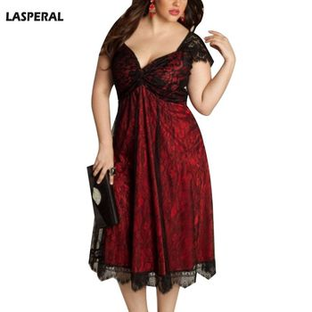 Plus Size Gothic Dress Women Summer V-Neck Party Dress Elegant Vintage Lace Patchwork