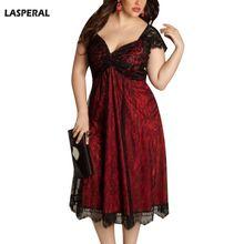 LASPERAL плюс Размеры Готический Dresse Для женщин летнее платье Sexy v-образным вырезом вечерние платье элегантный Винтаж кружева лоскутное Vestidos роковой