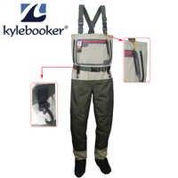 Botas de pesca hasta el pecho media transpirable para hombre Wader ligero Convertible caza vadeado Kit de pantalones para pesca con mosca