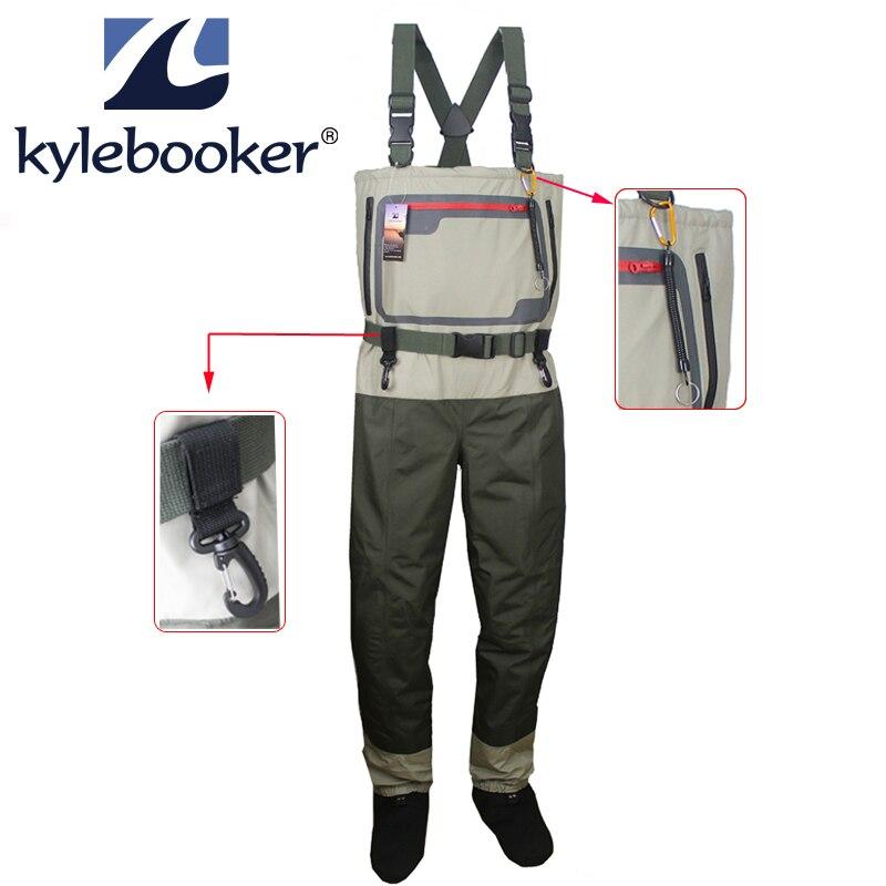 Poitrine de pêche homme cuissardes respirant bas pied Wader léger Convertible chasse pataugeoire pantalon kit pour pêche à la mouche
