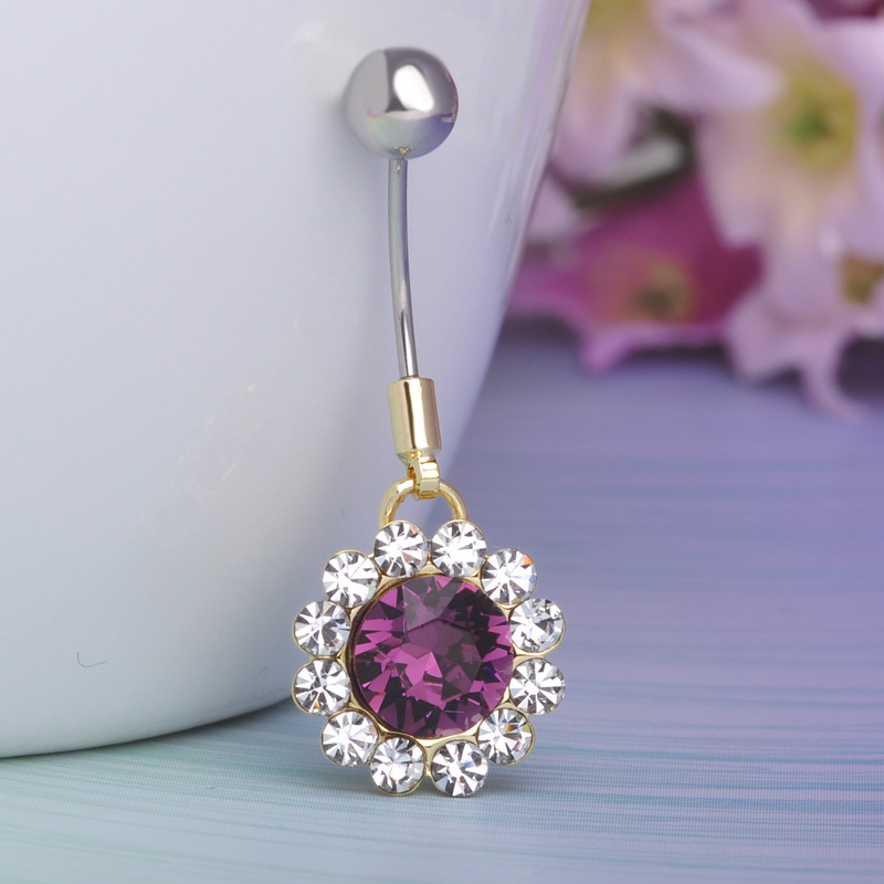 Piercing Shop Cute Belly Rings Round Crystal Shining Purple Tunnels Plug Stary Jeffree Umbigo Pircing Women Beach Hot Body Ring