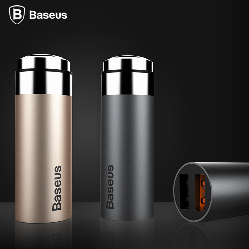 Baseus Full Metal 2 Port USB Car Charger 5V4 8A Quick Charge Car Mobile Phone Charger