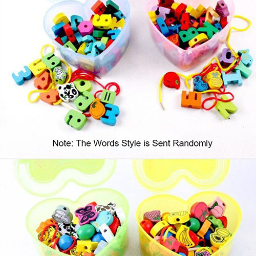 Wooden Heart-Shaped Stringing Game Beads Mixed Animals Fruit Baby Kids Toys Set