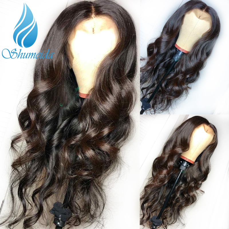 SHUMEIDA Brazilian Hair Lace Front Wigs for Black Women Remy Human Hair Loose Wave Glueless Lace