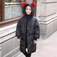 2018 зимняя куртка пуховик для девочек подростков, пальто с меховым воротником, Зимний комбинезон на утином пуху, Комбинезоны для От 5 до 11 лет