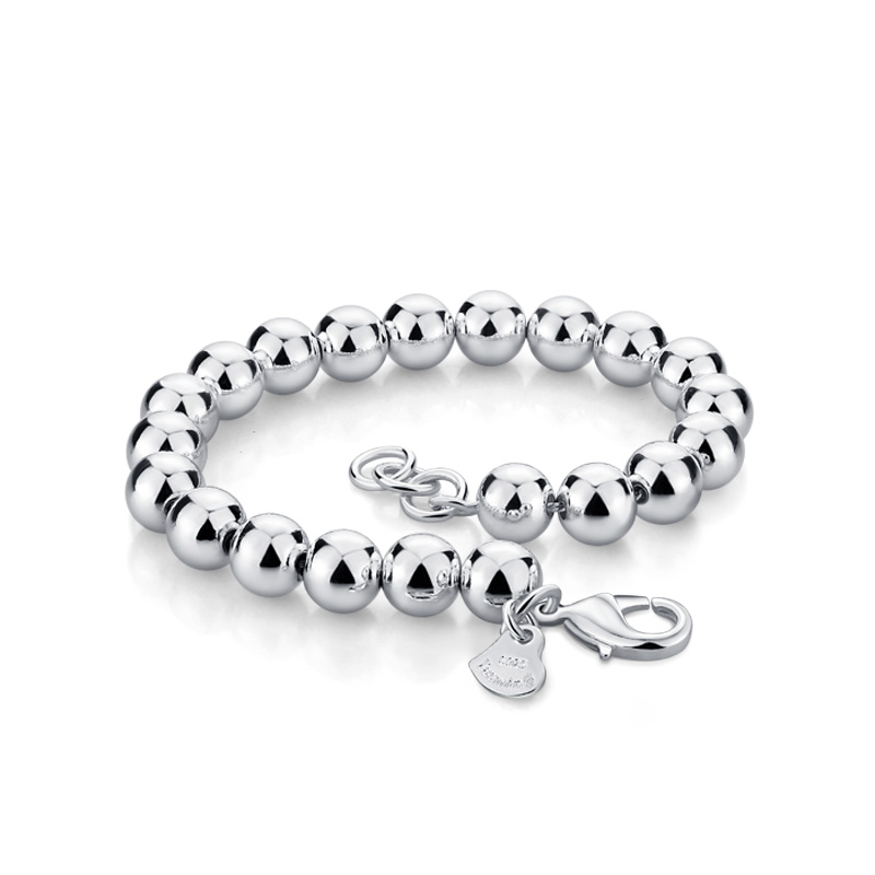 High Quality solid 925 Sterling silver Lucky Round Prayer Beads 6MM/8MM/10MM Bracelets & Bangles  Men and Women silver Jewelry
