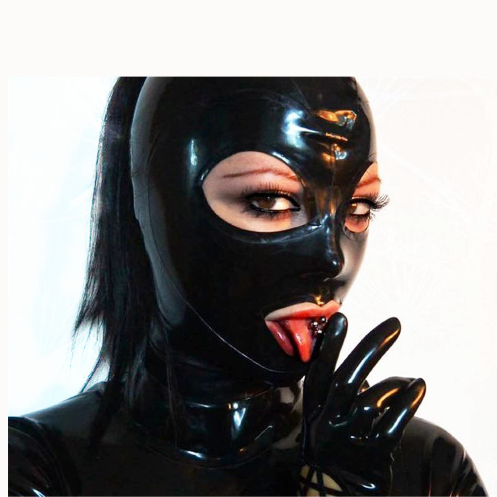 100/% Latex Rubber Gummi Mask Hood Mouth Condom Party ClubWear Catsuit Costume