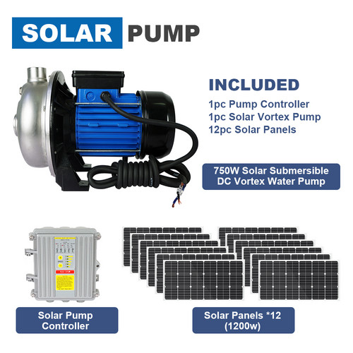 ECOworthy 1200W Solar Panel Solar Pump Brushless DC Water Pump 750W MPPT Controller for home off