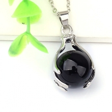 wholesale 10pcs Silver Plated The black agate precious stone Round  Beads hand shape Pendant Jewelry for Necklace
