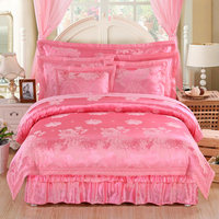 4Pcs Satin Jacquard quilted embroidery luxury bedding sets queen king size duvet cover set bed skirt set pillowcase bedclothes