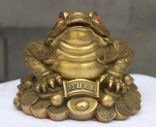 Chinese Brass Copper Fengshui Yuan BAO Money Wealth golden 2 Toad Statue