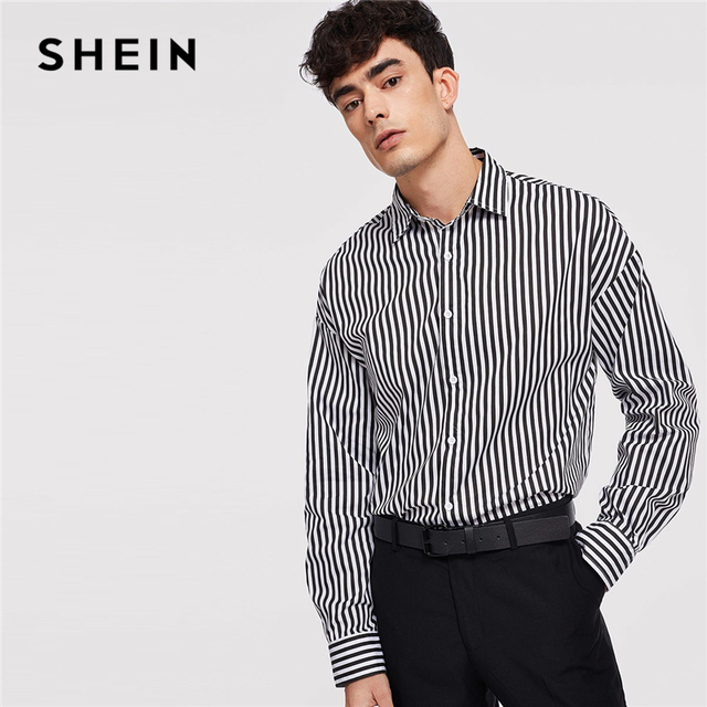 6502ad9f54 SHEIN Black And White Minimalist Button Front Striped Long Sleeve Shirt  Autumn Business And Leisure Mens Shirts And Tops