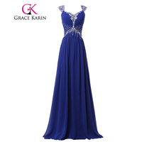 Elegant Gowns Grace Karin Long Evening Dress Chiffon Sequins Royal Blue Dress Vestidos Noche Long Party