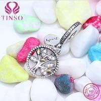 Haute Qualité 100% 925 Sterling Argent Fmaliy Arbre Pendentif Coeur Perles Fit Charms Pandora Bracelet D'origine pour Fabrication de Bijoux