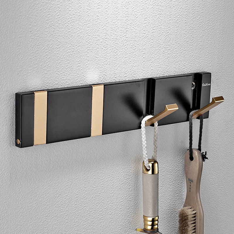 Premintehdw Solid Aluminum Wall Mount Coat Hat Conceal Folding Hook Wardrobe Robe Clothes Hanger With Screws