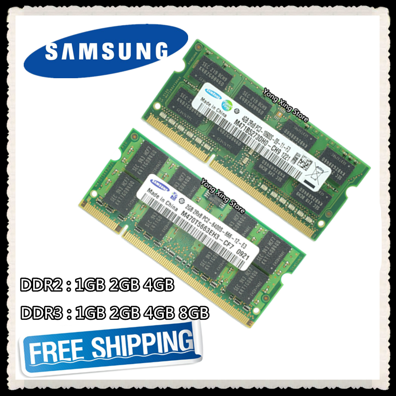<font><b>Samsung</b></font> DDR2 1GB 2GB <font><b>DDR3</b></font> 4GB 8GB PC2 PC3 533 667 800 1066 1333MHz 1600MHz 5300 6400 8500 10600 12800 Laptop Notebook RAM memory image