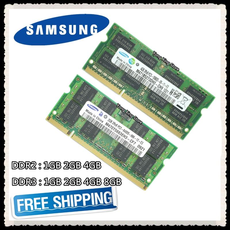 Samsung DDR2 1GB 2GB DDR3 4GB 8GB PC2 PC3 533 667 800 1066 1333MHz 1600MHz 5300 6400 8500 10600 12800 Laptop Notebook RAM Memory