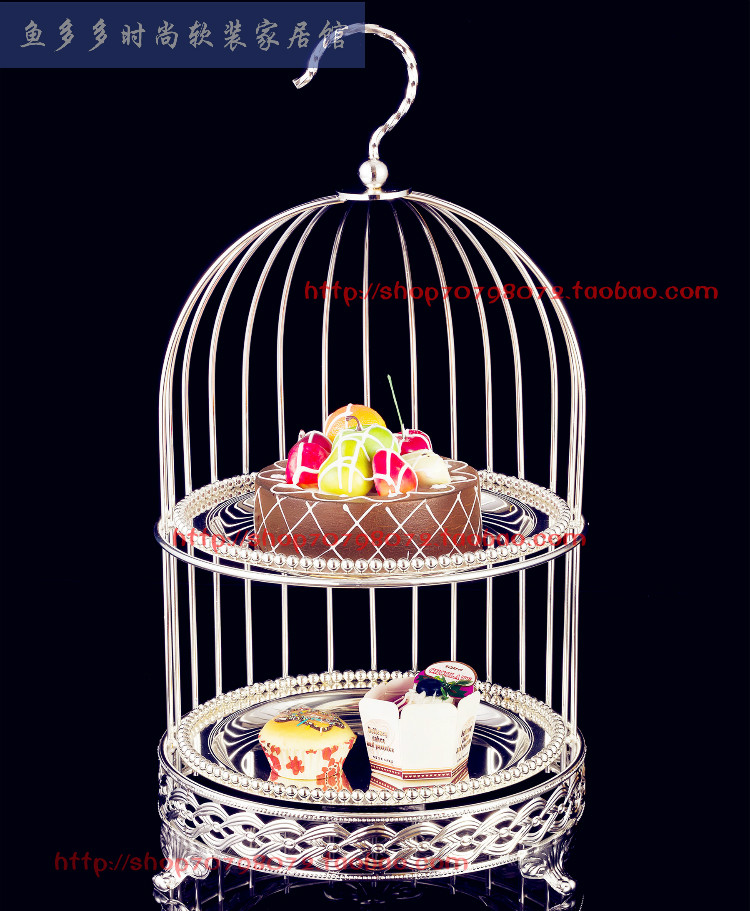 Bird cage double layer dessert plate afternoon tea dessert plate multi layer West dessert rack cake decoration tools