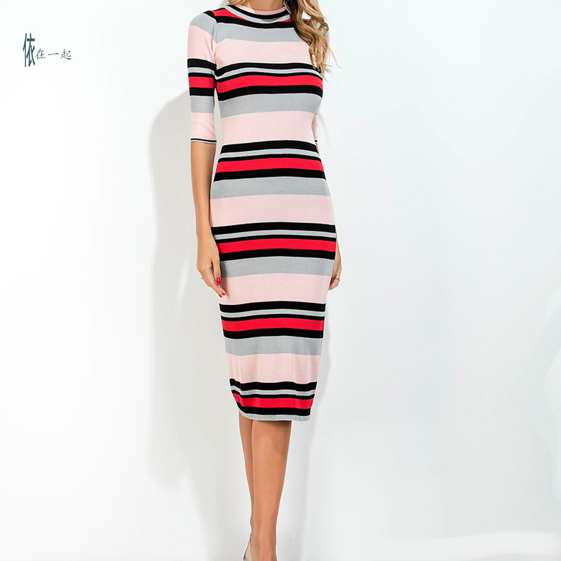 Autumn new fashion European and American style knitted sheath dress o-neck half sleeve color striped Slim long dress free shipping women lace dress 2016 autumn style good quality half sleeve casual dress o neck 55