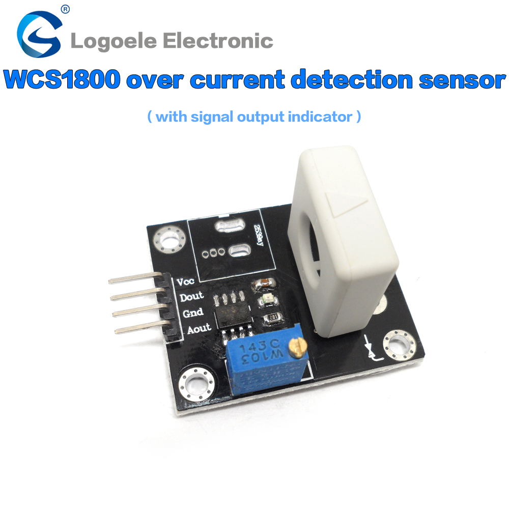 Short circuit / overcurrent protection module WCS1800 1700 1600 1500 2702 2705 2720 2202 current Hall sensor 1pcs current detection sensor module 50a ac short circuit protection dc5v relay