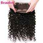 Beaufox 360 Lace Frontal With Baby Hair Brazilian Water Wave Human Hair Bundles Non-remy Can Be Bleached Natural Black