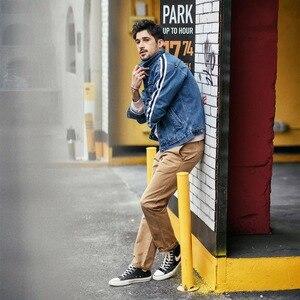 Image 2 - SIMWOOD di Giacca di Jeans Da Uomo 2020 primavera Nuovo Lato Di Modo Giacca A Righe Hip Hop Street wear Plus Size Marchio di Abbigliamento 190035