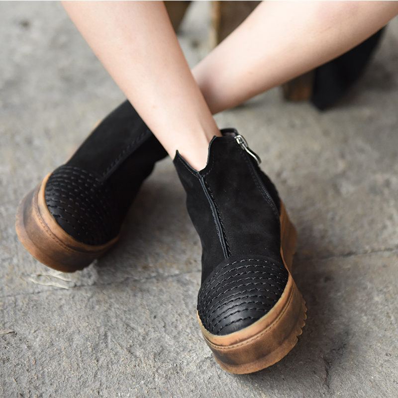 Original 2016 New Winter Boots Female British Thick Soled Martin Boots Comfortable All Match Platform Leather