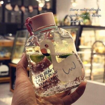 Glass creative flat portable bottle students easily bottle rope bottles