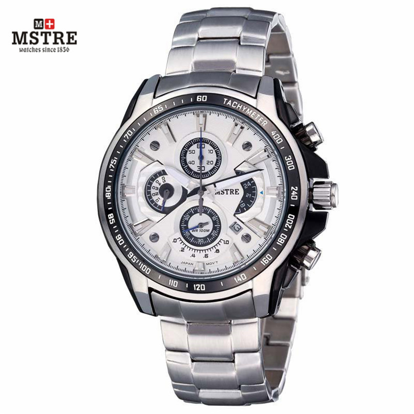 Luxury Brand Men's Watch Men's Business Casual Watch Japan Quartz Move Steel Band Case Chronograph Waterproof Wrist watches la vitesse fatale agentx original casual business analog steel band silver case japan movement quartz mens wrist watch agx094