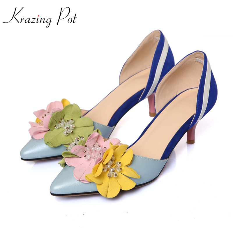 KRAZING POT 2018 cow leather kid suede original design thin high heels crystal flowers luxury pumps pointed toe brand shoes L1f3 krazing pot kid suede zip breathable