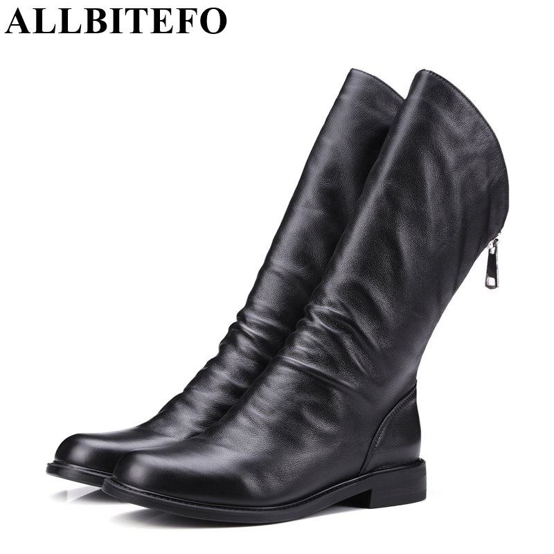 ALLBITEFO thick heel genuine leather round toe women martin boots fashion brand low heeled ankle boots