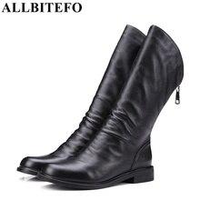 ALLBITEFO толстый каблук натуральная кожа круглый носок женщин мартин сапоги мода марка низком каблуке ботильоны девушку botas femininas