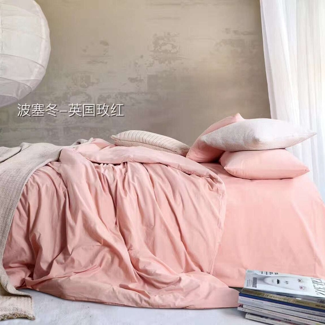 Light Pink Bedding Set 100% Cotton,adults Solid Color Duvet Cover Soft Bed  Sheets