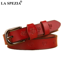 LA SPEZIA Red Belt Women Real Leather Pin Buckle Belts Female Vintage Double Loop Genuine Cow Embossed Flower Waist