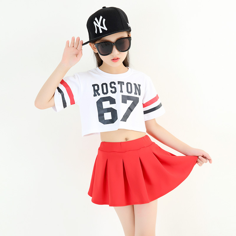Girls Dance Costume Fashion Jazz Performance Clothing Street Dance Rave Outfit Hiphop Clothes Cheerleader Wear For Kids DC2201